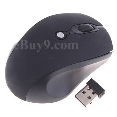 Mini Black 2.4GHz Wireless Optical Mouse 800/1600DPI-As picture