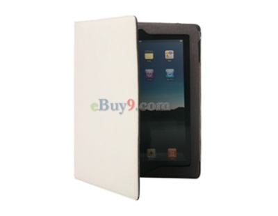 High Quality Leather Folding Apple iPad 2 Case  (White)-As picture