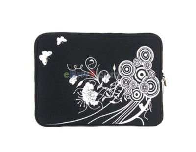 "10"" Butterfly Soft Bag Case for Notebook Laptop (Black)-As picture"