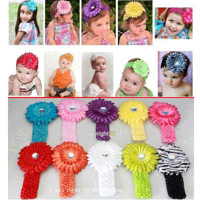 10 daisy baby hair flower bow Clip headband 10jjw-As picture