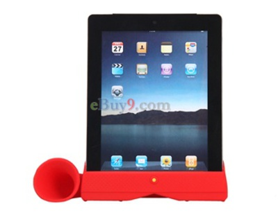 Stylish Acoustic Horn Stand Amplifier Speaker for iPad2 (Red)-As picture