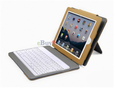 iPad 2 PU Leather Case + Wireless Bluetooth Keyboard}-As picture