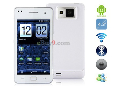4.3a  TFT kapazitive Touchscreen Slate Android 2.3 Smartphone mit WiFi, TV, Bluetooth (Wei)-wei