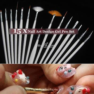 15pcs Nail Art Design Pens Painting Brush phbvoniu 15mjw-Multi Color