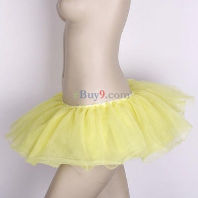 Yellow Ballet Cyber Rave Tutu Tulle Mini Skirt Lingerie Party Dress-As picture