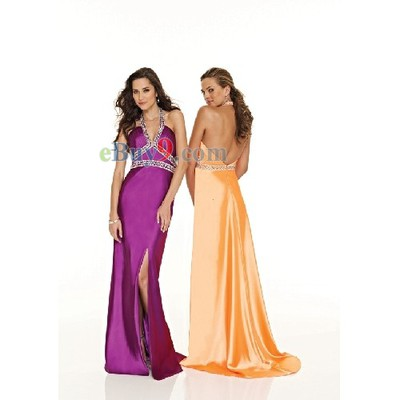 Empire Waist V-Neck Halter Sleeveless Elastic Satin Evening/ Prom Dress-As picture