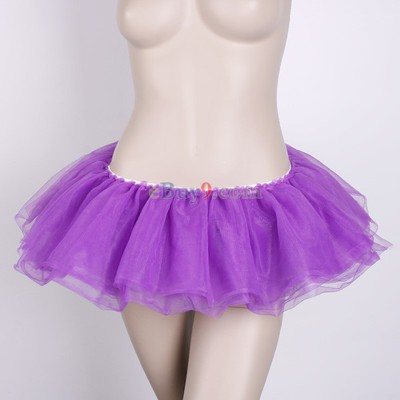 Lilac Ballet Cyber Rave Tutu Tulle Mini Skirt Lingerie Party Dress-As picture