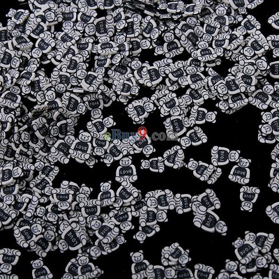 10,000 Pieces Black Stylish Lovely Exquisite Little Bear Fimo Portable Nail Art Decoration Tips-As picture