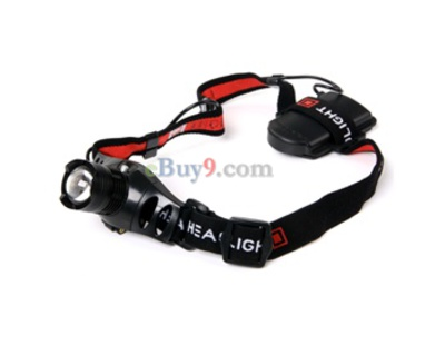 CREE Q5 3 Mode White Light Zoomable LED Headlight Torch (Black)}-As picture
