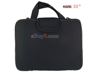 "10"" Laptop Notebook Computer Neoprene Bag with Handle and Zipper (Black)-As picture"