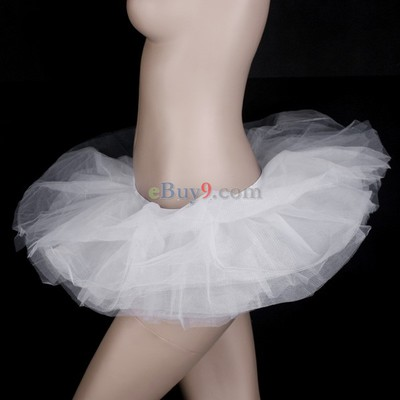 White Ballet Cyber Rave Tutu Tulle Mini Skirt Lingerie Party Dress-As picture