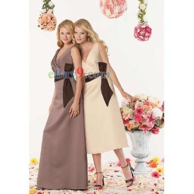A-line Floor-length Satin Bridesmaid/ Wedding Party/ Evening Dress-As picture