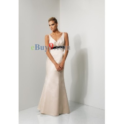Empire Waist V-neck Sleeveless Satin Bridesmaid/ Wedding Party/ Evening Dress-As picture