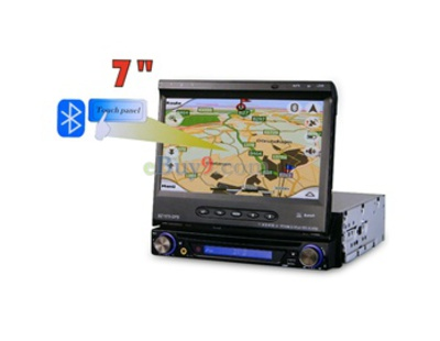 "HFK-1570 7"" TFT LCD Touch Screen Car DVD Player with GPS FM TV Bluetooth (Black)-As picture"