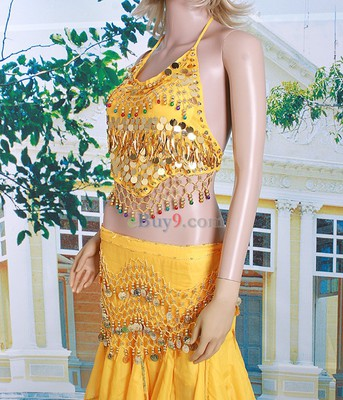 Belly Dance Costume Top &amp; Pants &amp; Waist Link Beads Sequins Yellow-As picture