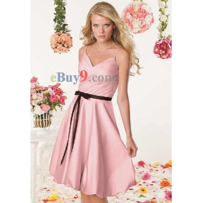 A-line Knee-length Satin Bridesmaid/ Wedding Party/ Evening Dress-As picture