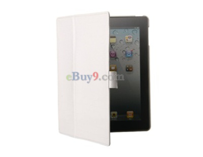 Crocodile Skin Faux Leather Ultra-slim iPad 2 Case (White)-As picture