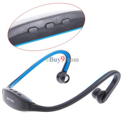 Wrap Around Wireless Headphones Headset Sport MP3 Player 2GB Blue-As picture