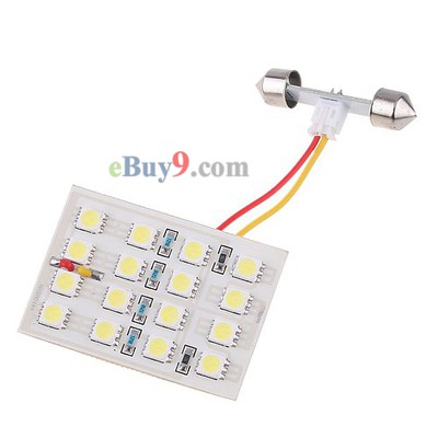 White Car Auto 16 LED SMD 5050 Dome Door Box Panel Light Lamp-As picture
