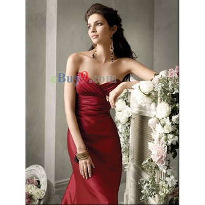 Empire Waist Floor-length Sweetheart Satin Bridesmaid/ Wedding Party/ Evening Dress-As picture