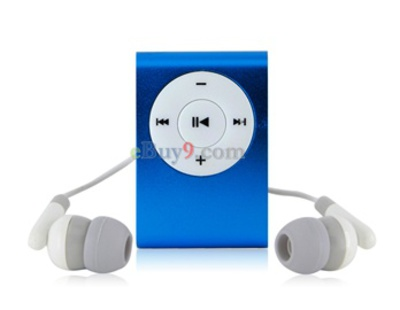 Clip MP3 Player with TF Card Slot (Blue)-As picture