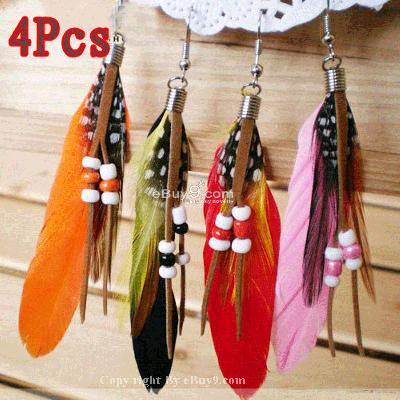4 Pair Women Fashion Feather Earrings Belt Bead 4fqow-Multi Color