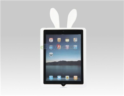 Fabito Soft TPU Protective Case with Rabbit Ears for Apple iPad 2 (White)-As picture