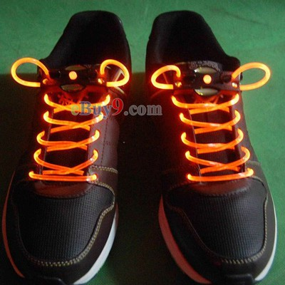 LED Light Up Shoes Shoelaces Luminous Shoestring Orange Light-As picture