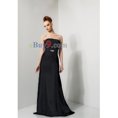 Sheath Strapless Sleeveless Satin Bridesmaid/ Wedding Party/ Evening Dress-As picture