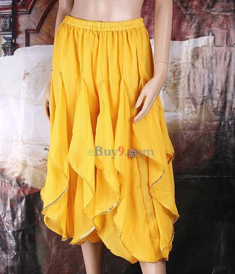 Belly Dance Costumes Pants Trousers Beads Sequins Yellow-As picture