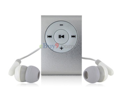 Clip MP3 Player with TF Card Slot (Siver)-As picture
