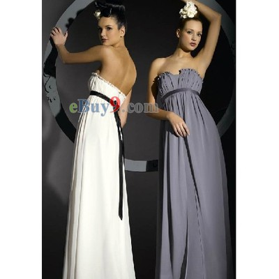Empire Waist Floor-length Strapless Sleeveless Chiffon Bridesmaid/ Wedding Party/ Evening Dress-As picture