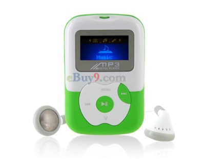 "1.1"" OLED Screen 4G TF Card-insert MP3 Audio Player with Speaker (Green)-As picture"