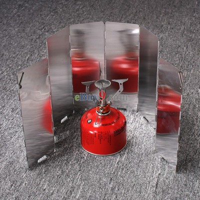 Sliver 8 Plates Fold Outdoor Camping Stove Wind Shield Screen for Camping Picnic-As picture
