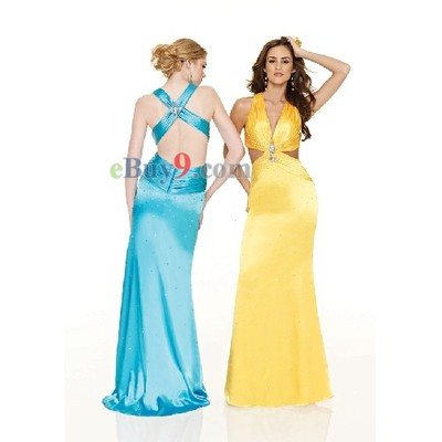 V-Neck Sleeveless Elastic Satin Evening/ Prom Dress-As picture