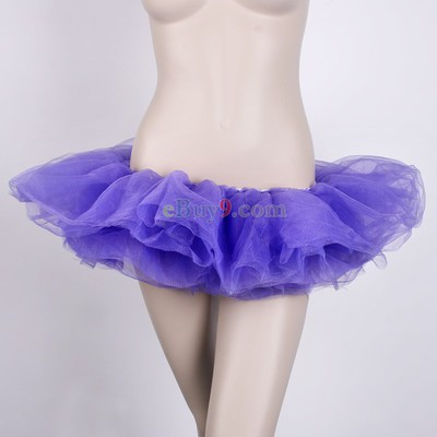 Purple Ballet Cyber Rave Tutu Tulle Mini Skirt Lingerie Party Dress-As picture