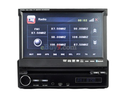 "1 Din 7"" Touch TFT Screen ARM1176JZF-S 500MHZ CPU 128 Memory Car In-Dash DVD Player with GPS Analog Bluetooth AM FM RDS AVIN Rearview Camera 16GB SD Card Support EMS Shipping-As picture"