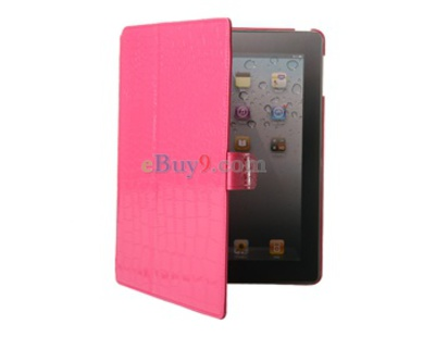 Four-Fold PU Leather Protective Case for iPad 2 (Pink)-As picture