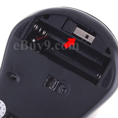 Black-Gray 2.4GHz Wireless Optical Mouse 400/1600DPI-As picture