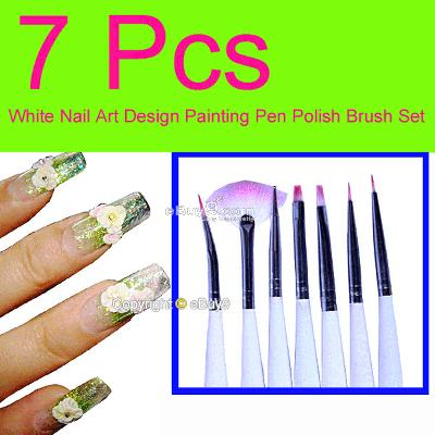 7 pcs Nail Art Design Painting Pen Polish Brush Set 7Biw-White