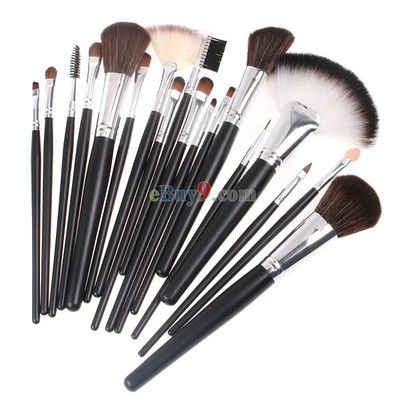18 PCS Nylon Hair Makeup Brush Set + Silvery grey PU Pouch Bag-As picture