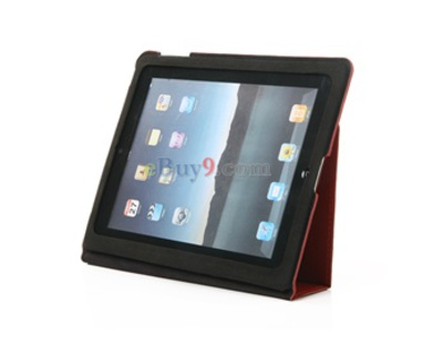 Full Protection Genuine Leather Case Cover for iPad 2 (Red)-As picture