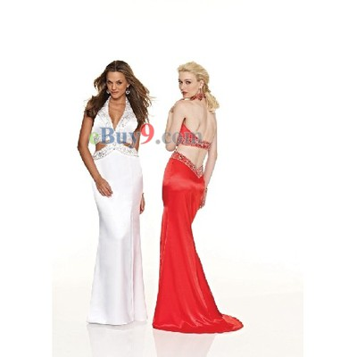 V-Neck Halter Sleeveless Elastic Satin Evening/ Prom Dress-As picture
