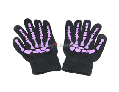 Skeleton Design Glove for Touch Phone & Tablet Computer (Purple)-As picture