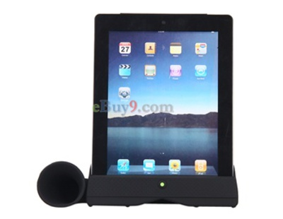 Stylish Acoustic Horn Stand Amplifier Speaker for iPad2 (Black)-As picture
