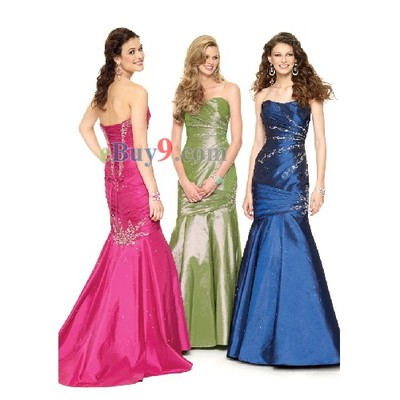 Sexy Mermaid Sweetheart Sleeveless Taffeta Evening / Prom Dress-As picture