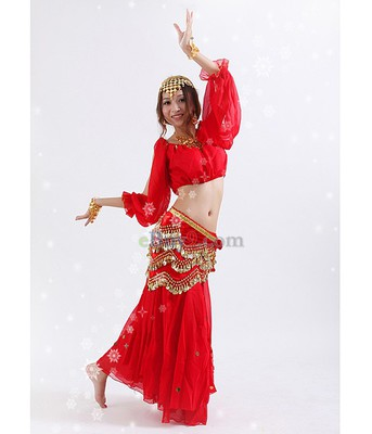 Belly Dance Costume Top &amp; Skirt &amp; Waist Link Red-As picture