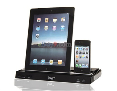 Multi-Ports Power Station and Speaker for iPad1/2, iPhone 3G/4 (Black)}-As picture