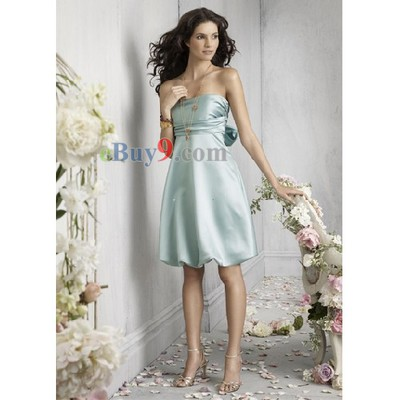Empire Waist Strapless Sleeveless Elastic Satin Bridesmaid/ Wedding Party/ Evening Dress-As picture