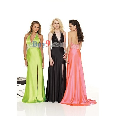 Empire Waist V-Neck Sleeveless Elastic Satin Evening/ Prom Dress-As picture